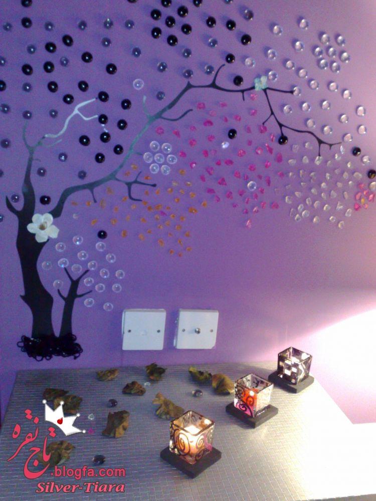 اموزش تزئین زیبا و ساده دیوار اتاق خواب با درخت کریستال
